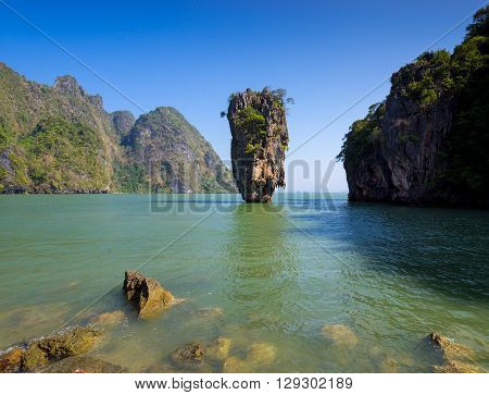 Khao Tapu or James Bond Island Phang Nga Bay Thailand