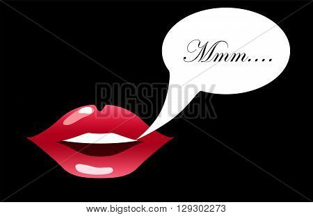 Red lips with text bubble vector illustration for background sensual lips of a woman smiling glossy lipstick picture girl's kissing mouth woman's pretty smile pink lips isolated lips teeth icon