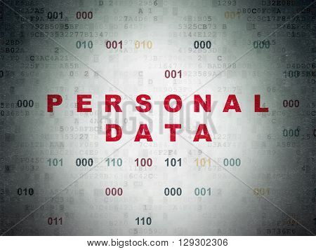 Information concept: Painted red text Personal Data on Digital Data Paper background with Binary Code