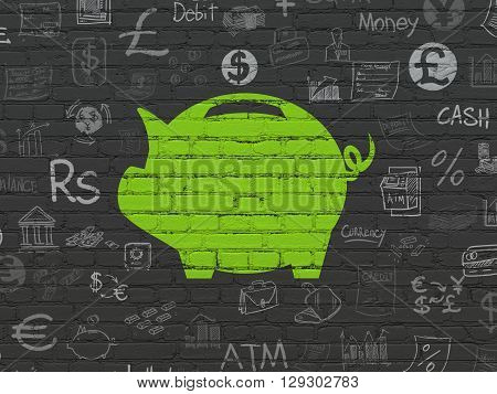 Banking concept: Painted green Money Box icon on Black Brick wall background with  Hand Drawn Finance Icons