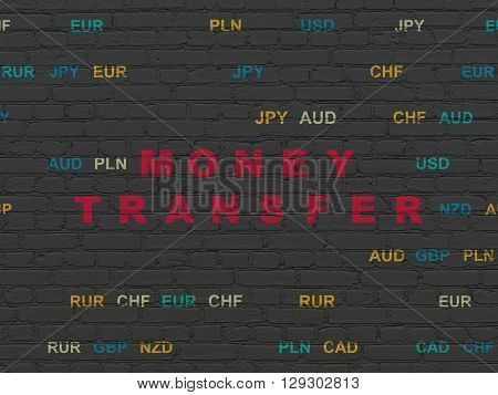 Currency concept: Painted red text Money Transfer on Black Brick wall background with Currency
