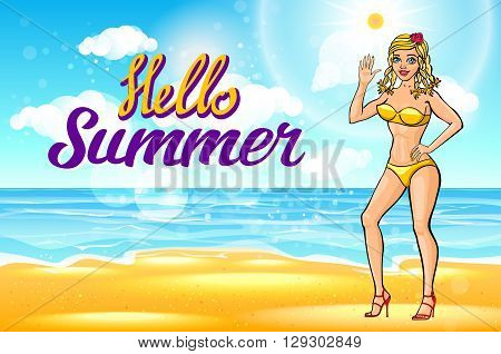 Vector. Outdoor Summer Sunny Bikini Fashion Smiling Portrait Of Pretty Young Blonde Girl. The Beach