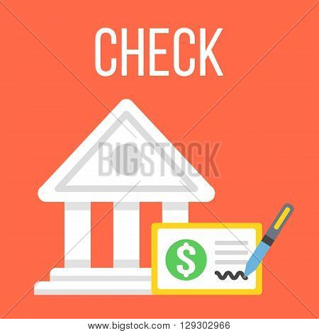 Vector bank building and check icon. Cheque icon. Flat design vector illustration concept for web banner, web and mobile app, infographics. Bank check icon graphic. Isolated on red background