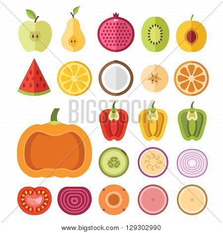 Fruits and vegetables slices set. Apple, pear, pomegranate, watermelon, lemon, apricot, banana, pumpkin, pepper, tomato, other vegetables, fruits. Flat vector slices icons isolated on white background