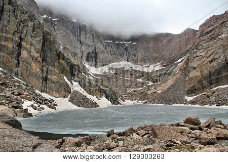 Rocky Mountain National Park in Colorado USA. Frozen Chasm Lake in June.