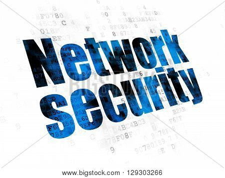 Protection concept: Pixelated blue text Network Security on Digital background