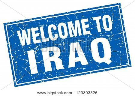 Iraq blue square grunge welcome to stamp