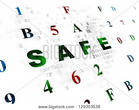 Privacy concept: Pixelated green text Safe on Digital wall background with Hexadecimal Code