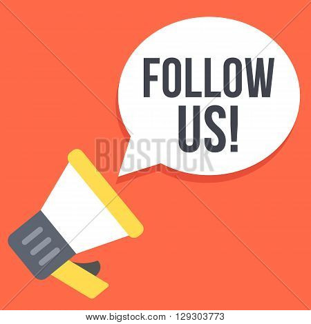 Follow us flat illustration. Loudspeaker calls for followers. Social network advertising, social media marketing, sharing web banner concepts. Vector illustration isolated on red background