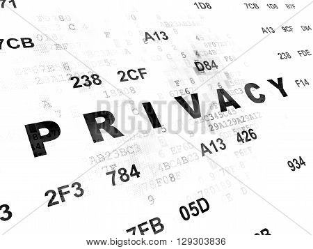 Protection concept: Pixelated black text Privacy on Digital wall background with Hexadecimal Code