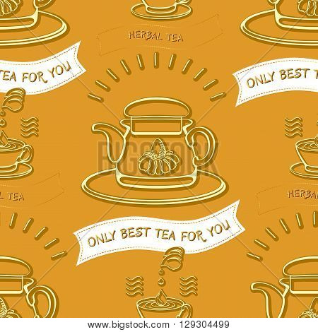 Herbal tea theme seamless pattern. Vector background with silhouette cups and words Herbal tea,  Only Best Tea For You on light brown background.