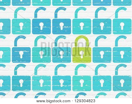 Protection concept: rows of Painted blue opened padlock icons around green closed padlock icon on White Brick wall background