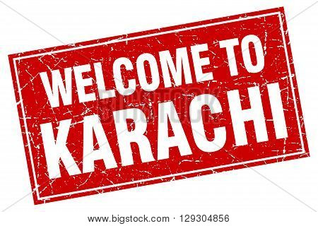 Karachi red square grunge welcome to stamp