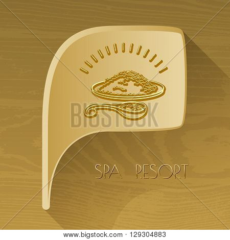 Vector bubble golden icon with spa accessory mineral salt on brown wooden background. Spa resort.