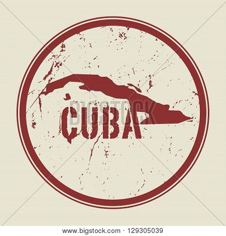 Stamp with the name and map of Cuba, vector illustration