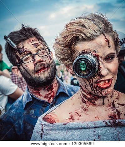 WARSAW POLAND - JUNE 27 2015: Participants of the 9th Zombie Walk on Royal Square of Warsaw Old Town