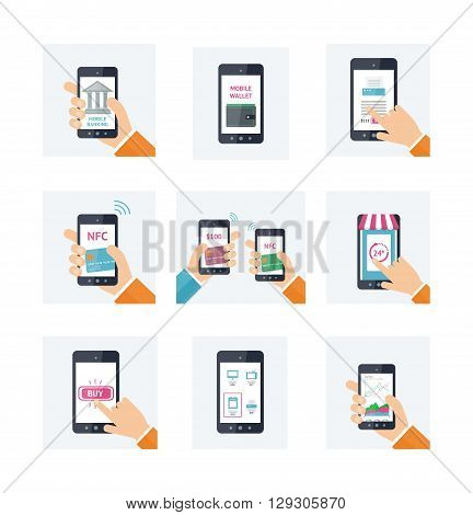 Flat icons set with mobile technology, online shopping, web wallet, nfc, on-line banking concepts. Smartphones with human hands. Vector infografhic elements for on-line techology concept. Mobile payment, shopping