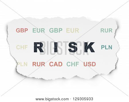 Business concept: Painted black text Risk on Torn Paper background with  Currency