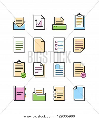 Vector linear document icons set isolated on white, paper icon. Office document icon set.