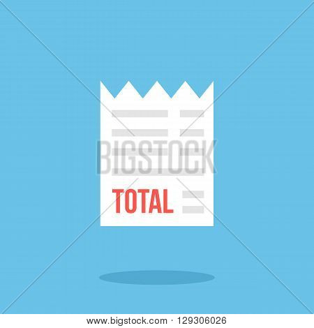 Receipt icon. Modern flat design vector illustration, quality concept for web banner, web and mobile application, infographics. White receipt vector icon isolated on blue background