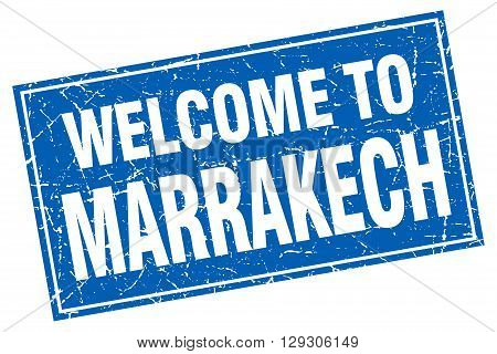 Marrakech blue square grunge welcome to stamp