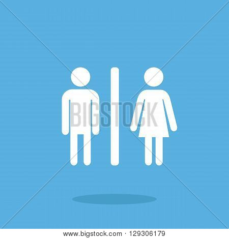 WC icon. Man and woman. Modern flat design vector illustration, quality concept for web banner, web and mobile application, infographics. Restroom vector icon isolated on blue background