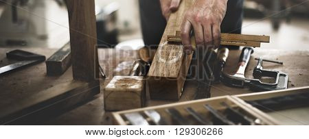 Carpenter Craftmanship Carpentry Handicraft Wooden Workshop Concept