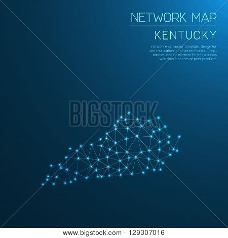 Kentucky Network Map. Abstract Polygonal Us State Map Design. Internet Connections Vector Illustrati