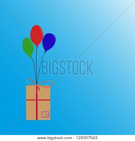 Balloons flying with box with post stamp and ribbons. Red green blue balloons flying with box.