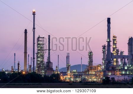 Oil Refinery In Morning Day Sunrise