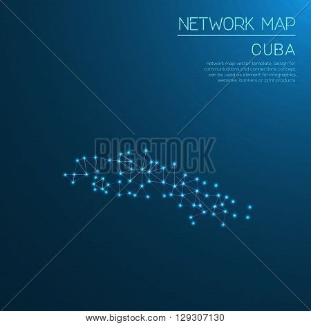 Cuba Network Map. Abstract Polygonal Map Design. Internet Connections Vector Illustration.
