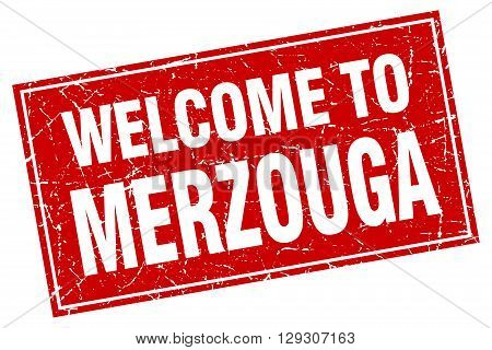 Merzouga red square grunge welcome to stamp