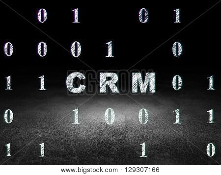 Finance concept: Glowing text CRM in grunge dark room with Dirty Floor, black background with Binary Code