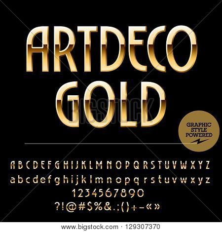 Vector set of beautiful gold alphabet letters, numbers and punctuation symbols. Art Deco thin style