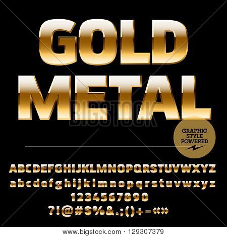 Vector set of rich gold alphabet letters, numbers and punctuation symbols. Compact ultra bold style