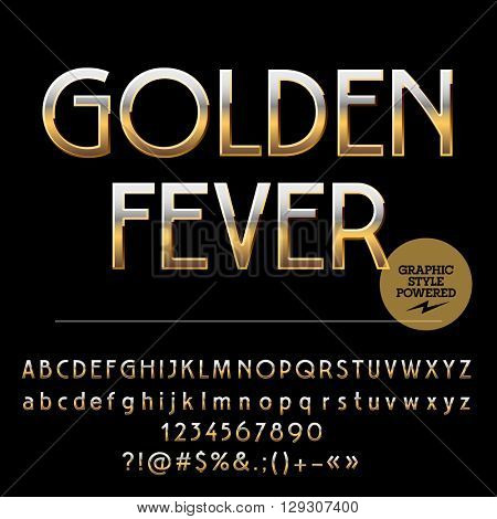 Vector set of royal golden alphabet letters, numbers and punctuation symbols. Art Deco style