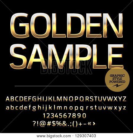 Vector set of deluxe gold alphabet letters, numbers and punctuation symbols. Compact bold style