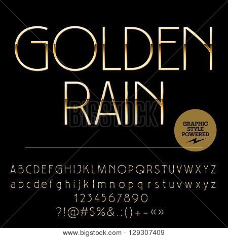 Vector set of elegant golden alphabet letters, numbers and punctuation symbols. Art Deco slim  style