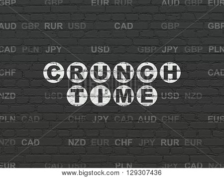 Business concept: Painted white text Crunch Time on Black Brick wall background with Currency