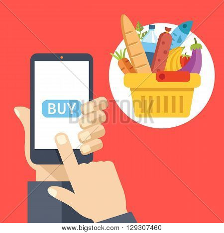 Purchase food using mobile app. Smartphone screen with buy button and supermarket basket full of food. Modern concept for web banners, web sites, infographics. Creative flat design vector illustration