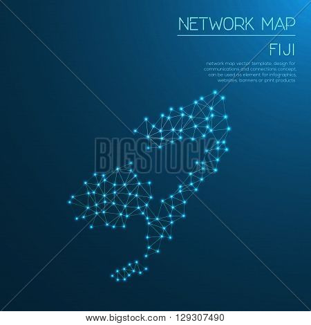 Fiji Network Map. Abstract Polygonal Map Design. Internet Connections Vector Illustration.