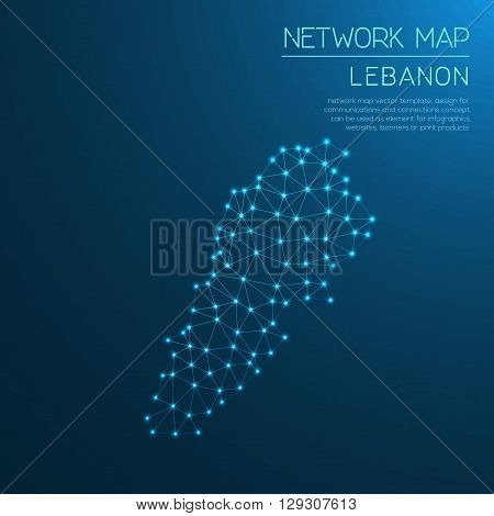 Lebanon Network Map. Abstract Polygonal Map Design. Internet Connections Vector Illustration.