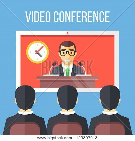 Video conference flat illustration. Businessmen sitting on chair, boss speaking from digital flat screen. Online meeting, video call, modern communication technology concepts. Vector illustration