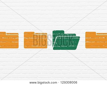 Business concept: row of Painted orange folder icons around green folder icon on White Brick wall background
