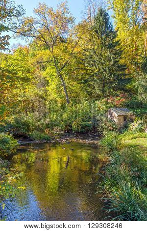 A snall pond in early Autumn in Allaire State Park in New Jersey.