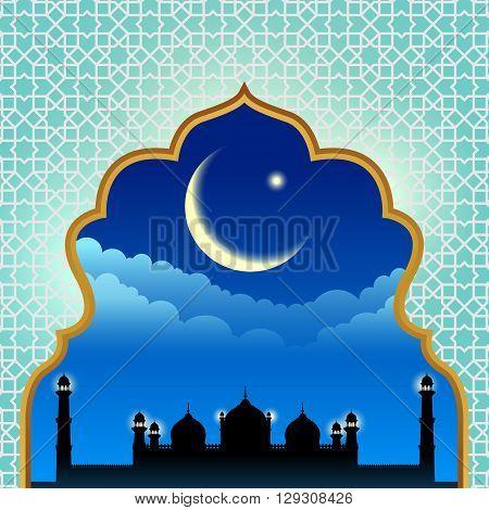 Gold arab window art and masjid at night vector design