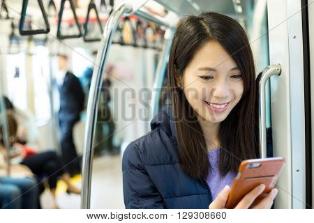 Woman use of cellphone inside cellphone