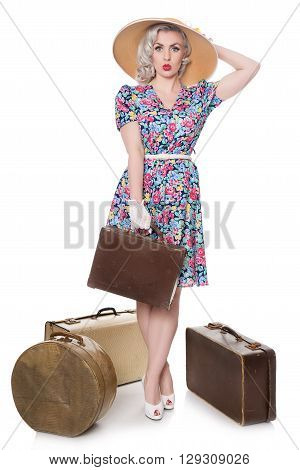 Beautiful Retro Blond Standing With Vintage Suitcases, Wearing Sun Hat, Isolated On White