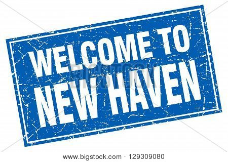 New Haven blue square grunge welcome to stamp