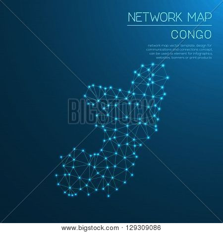 Congo Network Map. Abstract Polygonal Map Design. Internet Connections Vector Illustration.